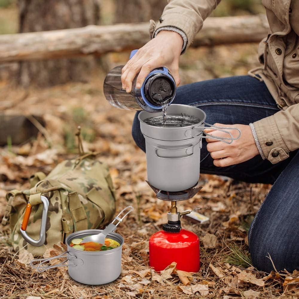 Lixada Camping Titanium Batterie De Cuisine Set Pot de Camping Casserole Spork Ensemble pour Camping en Plein Air Randonn/ée Backpacking Picnic Cuisson /Équipement