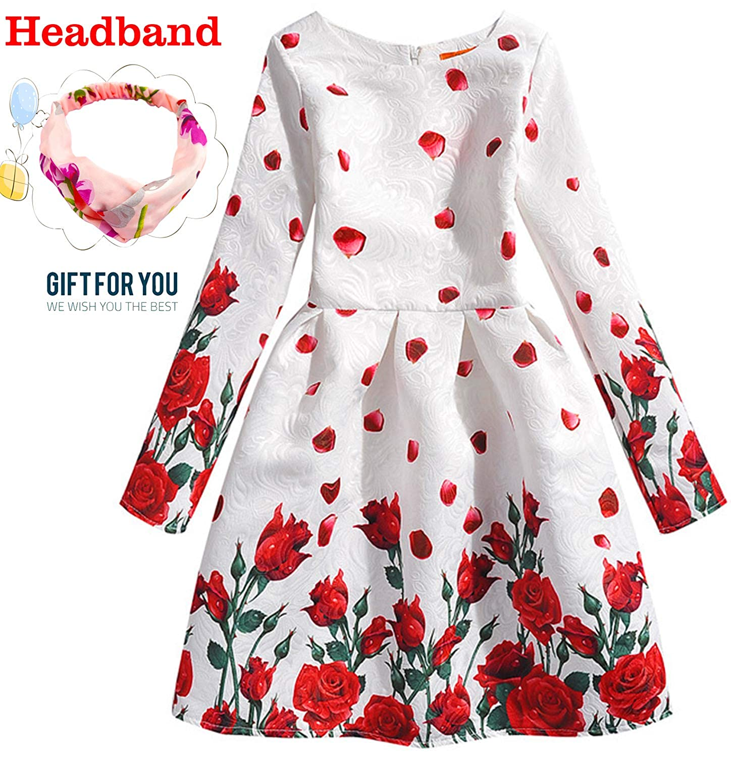 6204ded5 Package Include: 1* Floral dress+1*Fashion headband, Fit 4-12 years old  girls. ????96%Cotton + 4%Spandex, Comfortable hand feeling, High quality  fabric made ...
