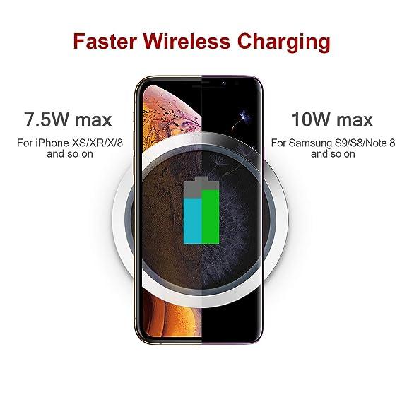 iWALK Cargador inalámbrico Qi 10W Max, Universal Carga Rápida Compatible para iPhone 8/8 Plus/X Samsung Galaxy S8 S7 S6 Edge Note 8/5 Nexus7/6/5/4: ...