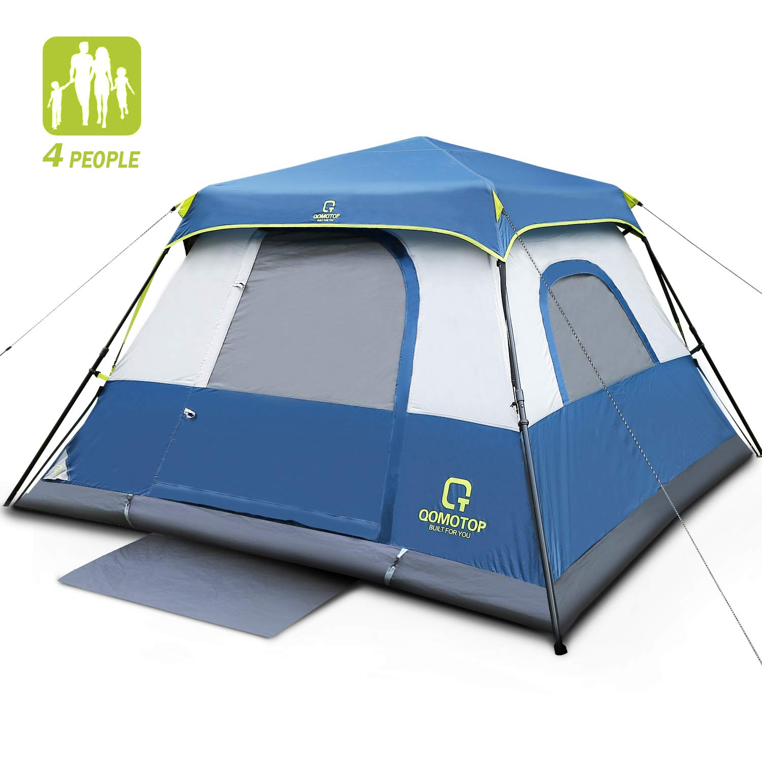 OT QOMOTOP Cabin Tent 4 People Smooth Ventilation Seamless Gap Rainproof Top Rainfly Gate Mat 1 Minute Set Up Sturdy Frame 8 x 8 Feet Camping Tent Electrical Cord Access Port