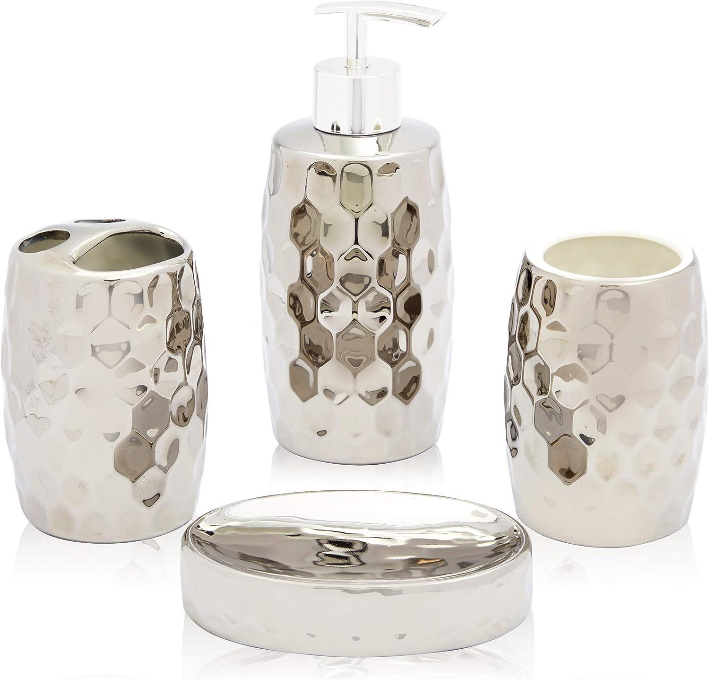 Juvale Metallic Silver Ceramic Bathroom Accessories Set (4 Pieces)
