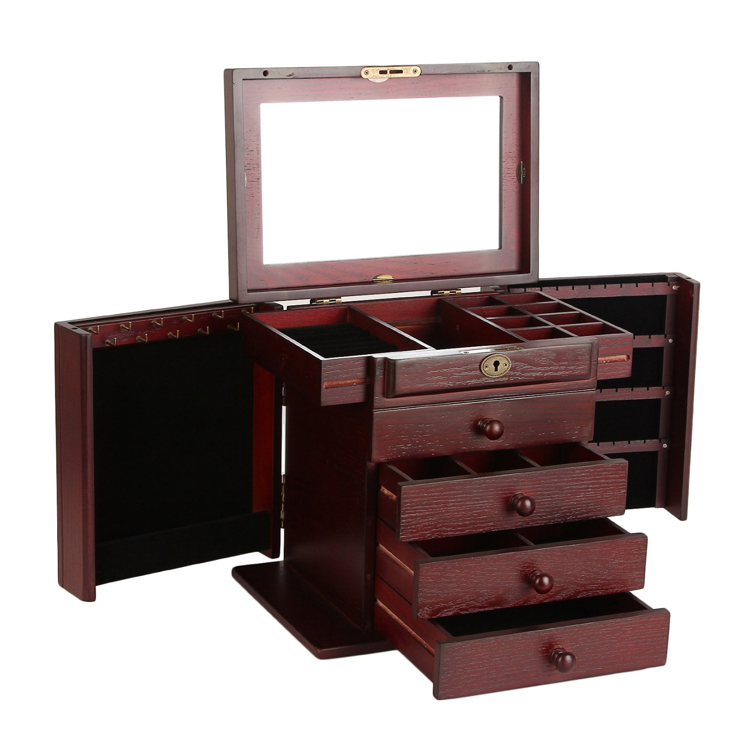 Extra Large Wooden Jewelry Box / Jewel Case Cabinet Armoire Ring Necklacel Gift Storage Box Organizer Mg002 (WINERED)