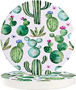 Car Coasters for Drinks-Set of 2 Pack,Watercolor, Cactus Flower Durable Absorbent Ceramics Car Accessories Easy Removal of Auto Cup Holders for Women Men