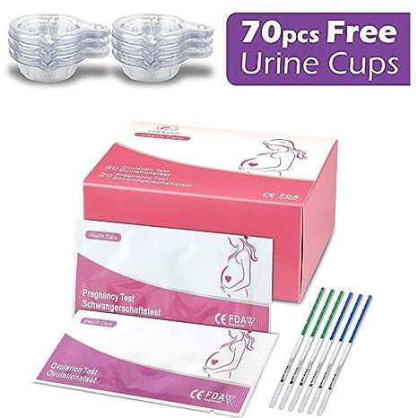 50 pruebas de ovulación ultrasensibles (25 mlU/ml) y 20 pruebas de embarazo