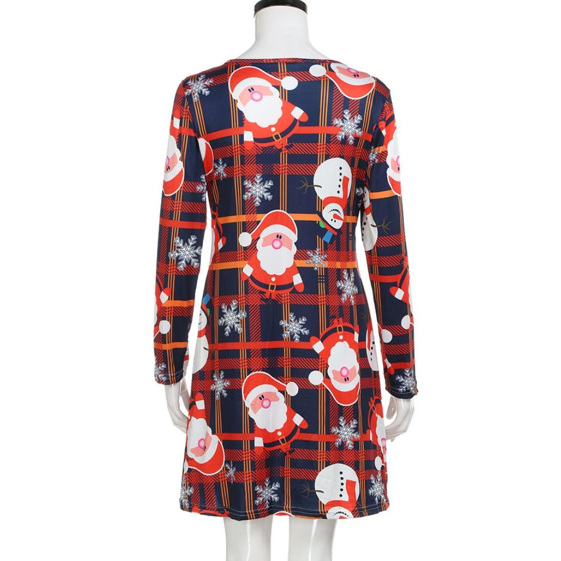 abea003367a2 Swing Kleid Damen Minikleid, Weihnachten Drucken Rundhals Lässiges Kleider  Weihnachtskleid Christmas RundhalsKleider Frauen Bluse Lange
