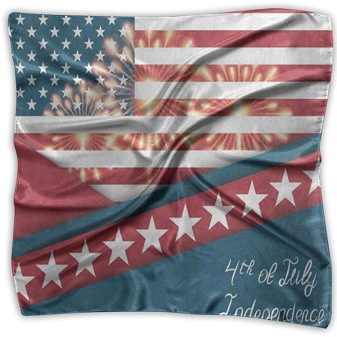 Aeykis Pañuelo cuadrado Estrella y raya Bandera americana Pañuelo ...