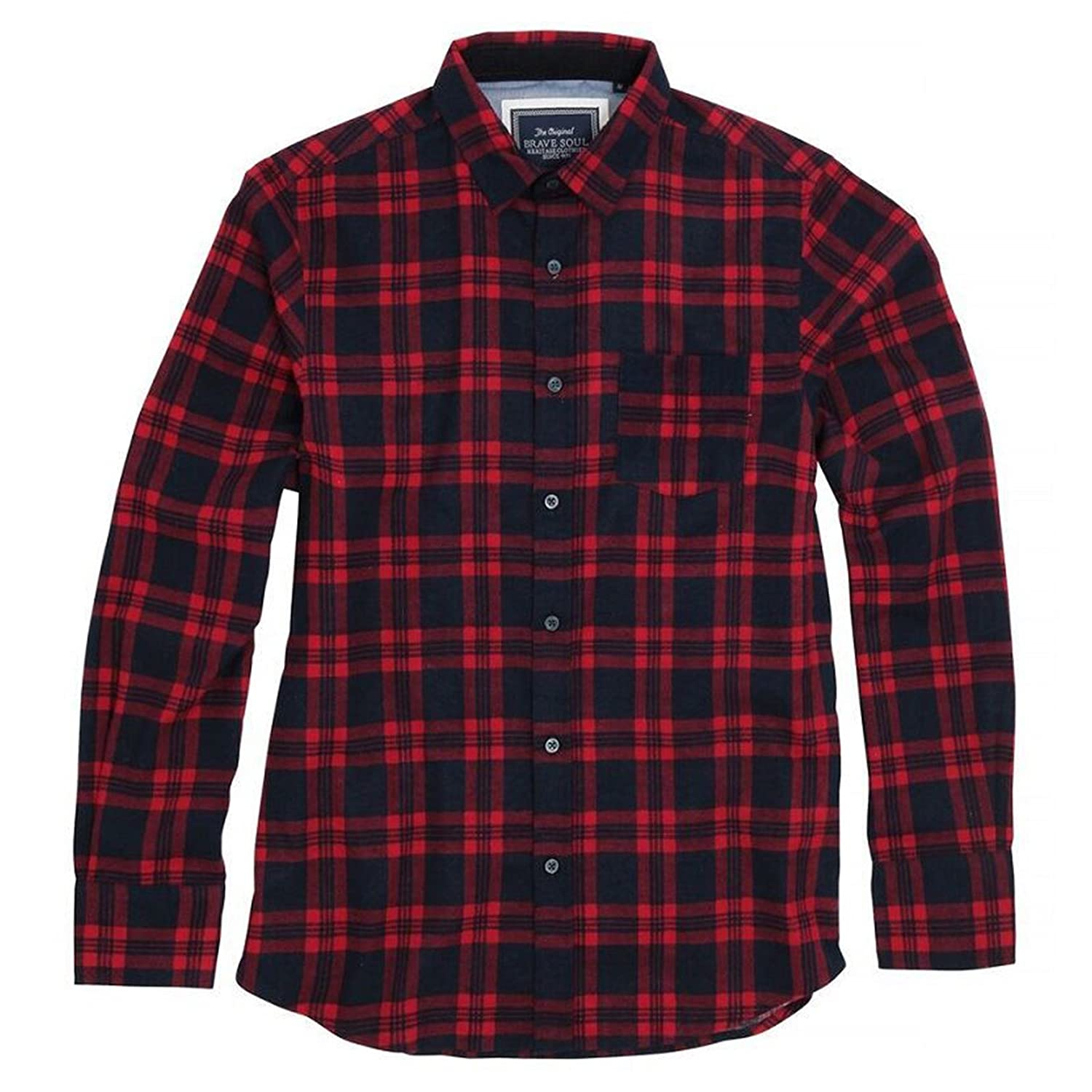 8dfa5a1cf3707 Brave Soul Mens Check Shirt Slater Long Sleeve Soft Brushed Cotton with  Classic Point Collar and Chest Pocket  Amazon.co.uk  Clothing
