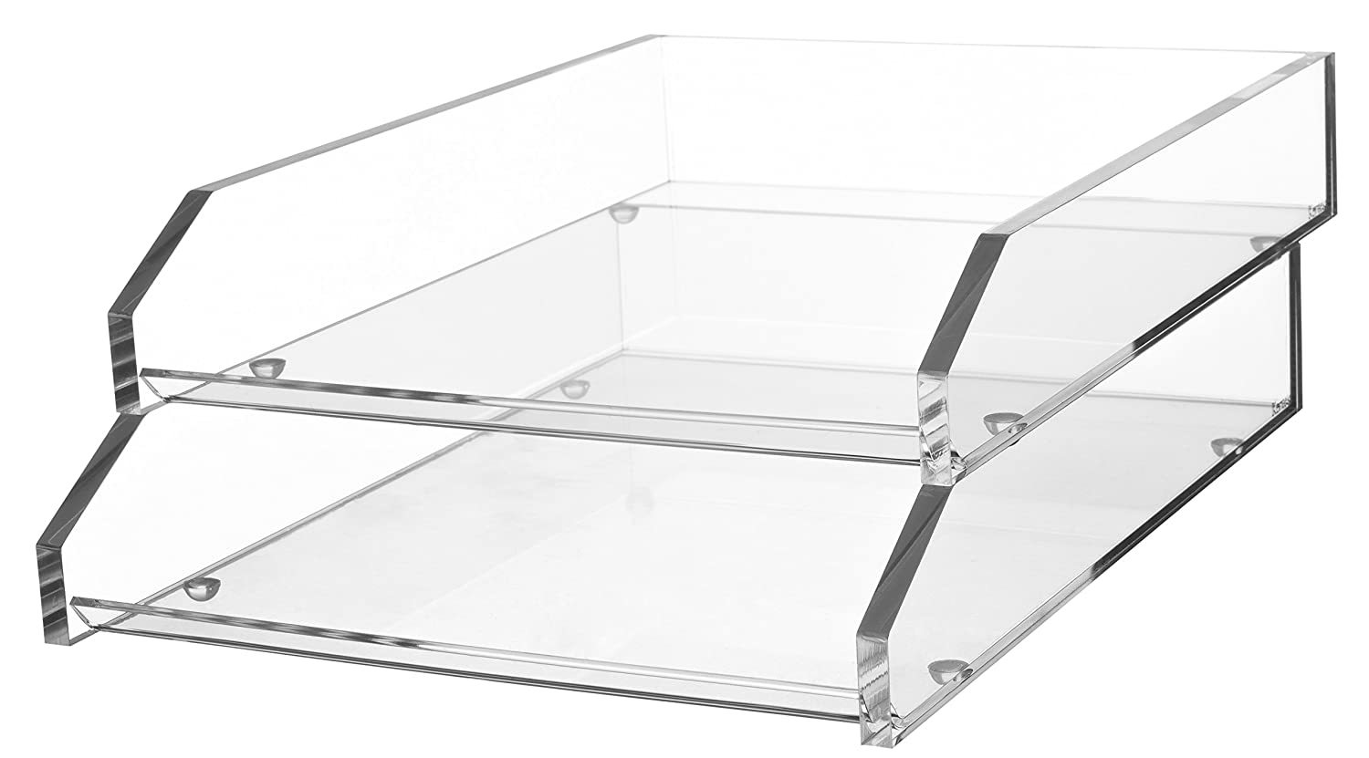 Kantek Acrylic Double Letter Tray, 10.6-Inch Wide x 13.9-Inch Deep x 4.8-Inch High, Clear (AD15)