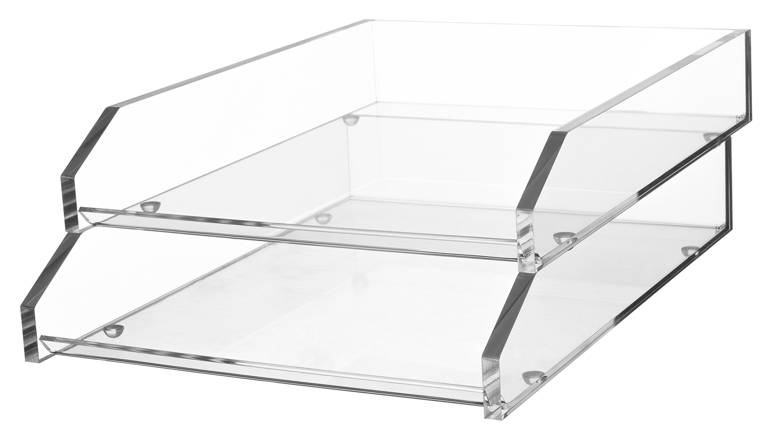 Kantek Acrylic Double Letter Tray, 10.6-Inch Wide x 13.9-Inch Deep x 4.8-Inch High, Clear (AD15) by Kantek
