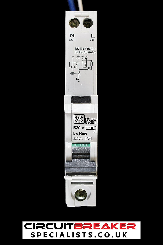 MK 20 AMP TYPE B 6 KA 30mA 230V SINGLE POLE RCBO RCD MCB CIRCUIT BREAKER 6935s A