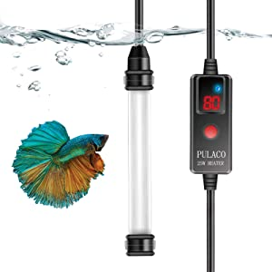 PULACO 25W Mini Aquarium Heater, Betta Fish Tank Heater for 1-5 Gallon Small Fish Tanks