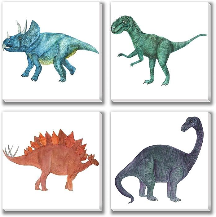 Texture of Dreams Boy Room Cool Dinosaur Painting Print on Canvas Wall Art Tyrannosaurus Stegosaurus Triceratops Painting Artwork Giclee Printing Wall Decor Home Decoration, 4 Pack (10