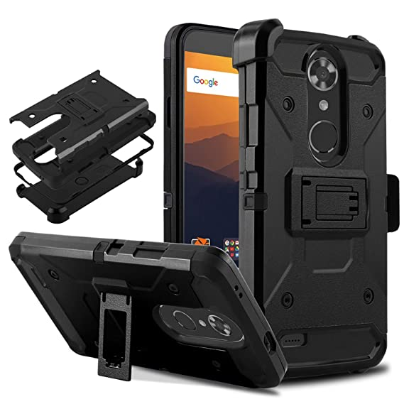 DONWELL Compatible with ZTE Max XL Resistant Shockproof Armor Cell Phone  Case Cover with Kickstand Belt Clip Holster Compatible with ZTE Max