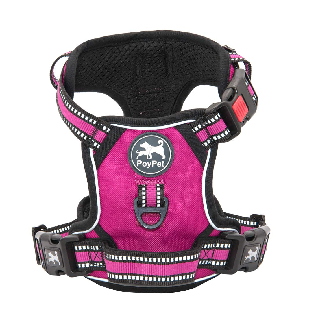 PoyPet No Pull Dog Harness, [Release at Neck] Reflective Adjustable No Choke Pet Vest with Front & Back 2 Leash…