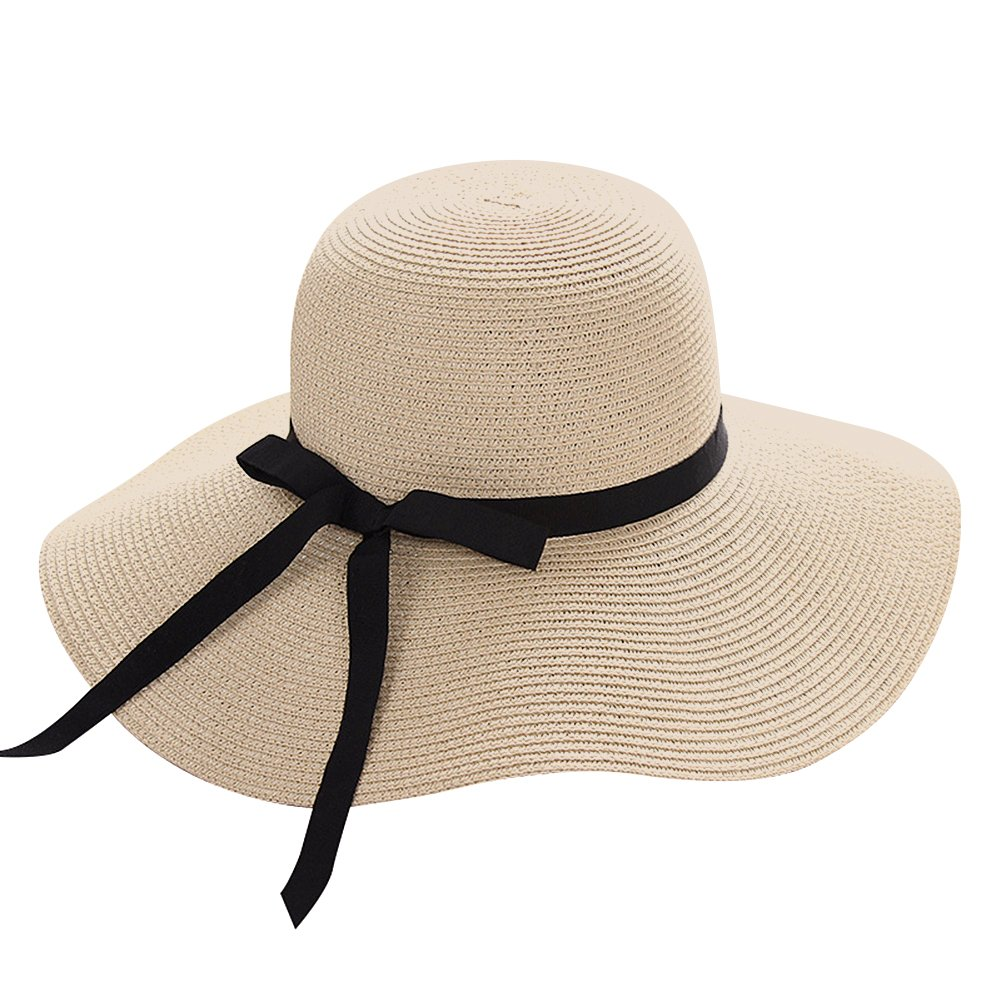 688a6decb Amazon.com: Lvaiz Women's Big Brim Sun Hat Floppy Foldable Bowknot Straw  Hat Summer Beach Hat: Home & Kitchen