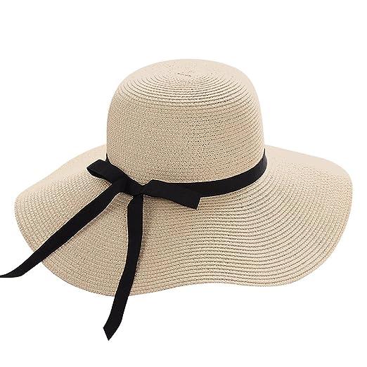 6cf072cdc94 Lvaiz Women s Big Brim Sun Hat Floppy Foldable Bowknot Straw Hat Summer  Beach Hat