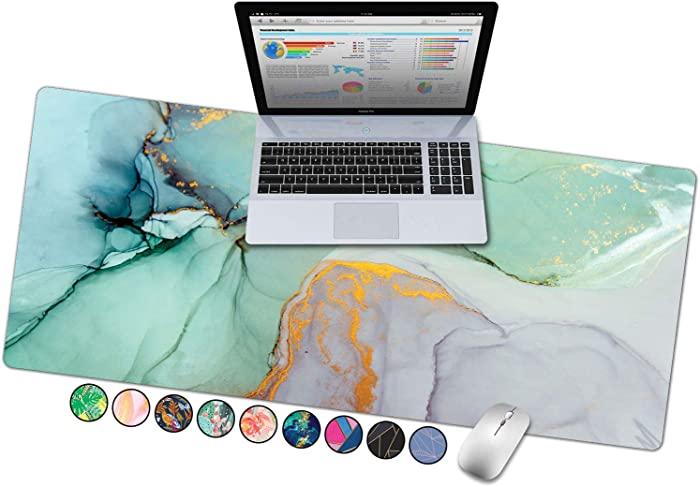 "French Koko Large Mouse Pad, Desk Mat, Keyboard Pad, Desktop Home Office School Cute Decor Big Extended Laptop Protector Computer Accessories Pretty Mousepad Women Girls XL 31""x15"" (Marble-lous Teal)"