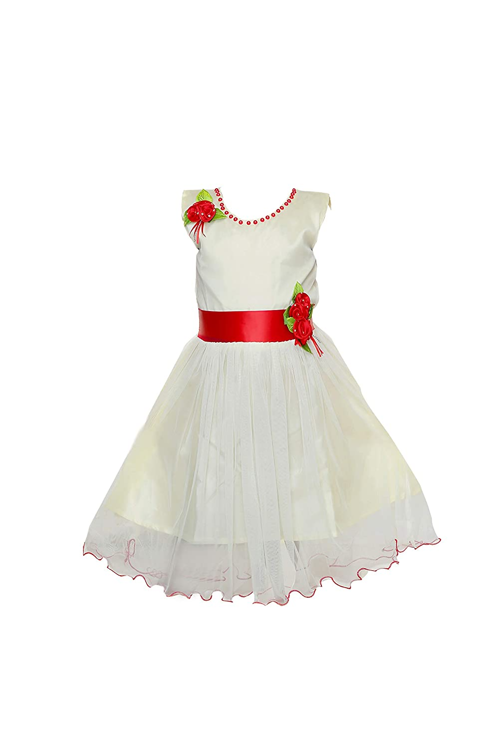0c2fb2665c YAYAVAR Girls Net Made White & Red Colored Casual/Party Wear Frock for  Girls - Set of 01 from 02-08 Years
