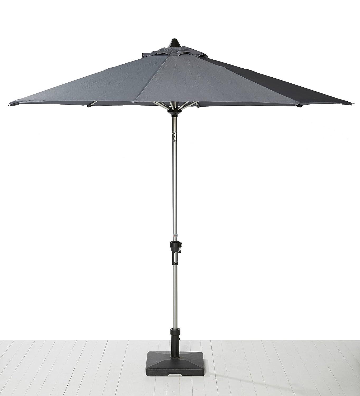 Sonnenschirm kippbar im Set dunkelgrau 270cm Durchmesser m. Kurbel u. Schirmfuß