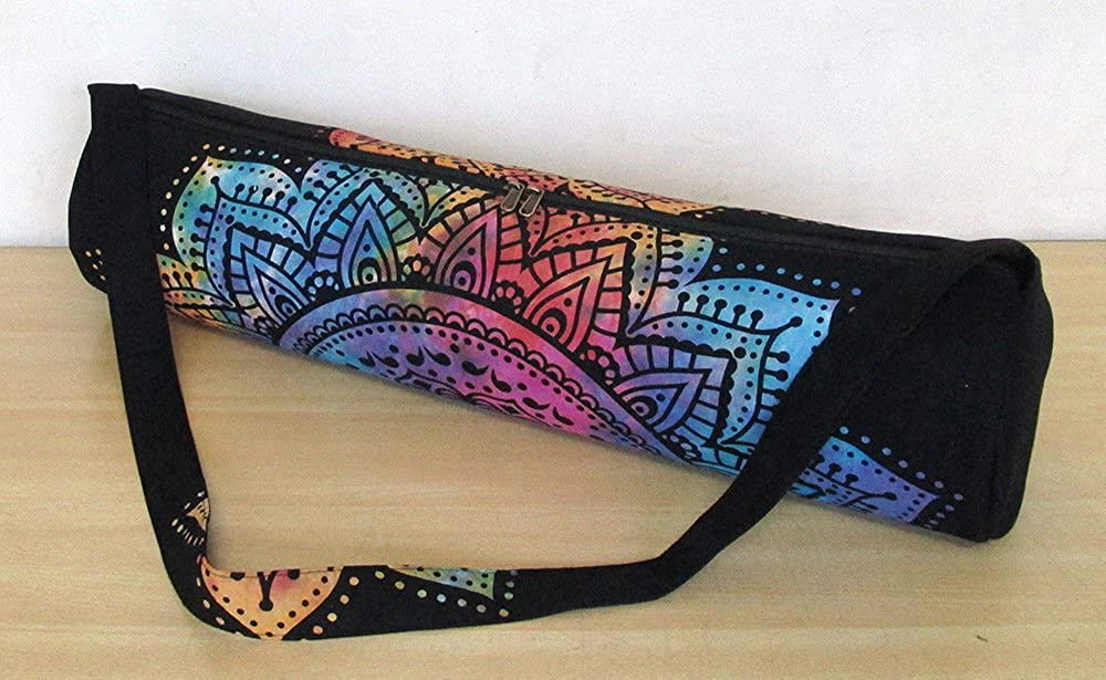 Indian Tapestry Handmade Ethnic Bohemian Gym Exercise Sports Cotton Unisex Cross Body Boho Hobo Full Zip Yoga Mat Carrier Bag with Adjustable Shoulder Strap GANESHAM