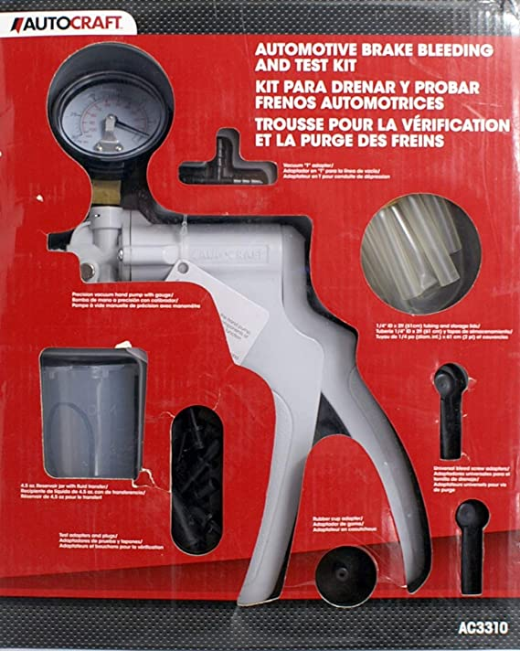 Victool Probador de Purga de Frenos Conjunto de probador de Purga de Frenos de Mano Kit de Purga Bomba de vac/ío Bomba de autom/óvil Sangrado