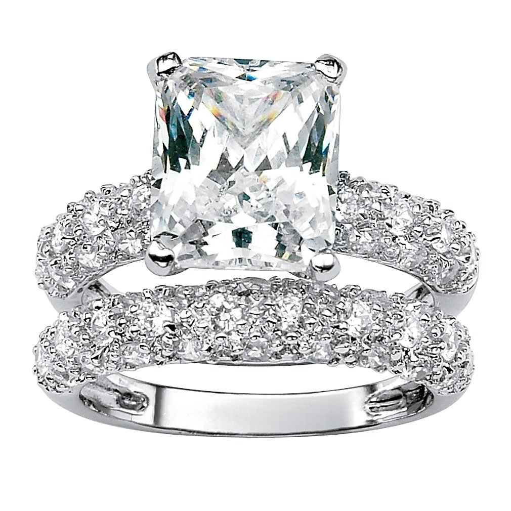 Palm Beach Jewelry Platinum-Plated Emerald Shaped Cubic Zirconia Bridal Ring Set Round Pave Accents Size 6