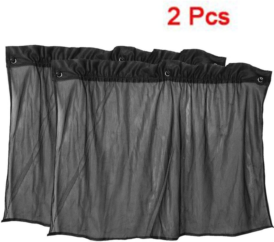 TOOGOO(R) 2 x Cortina de Ventana Parasol Negro Malla con Ventosa para Coche 50 cm x 75 cm
