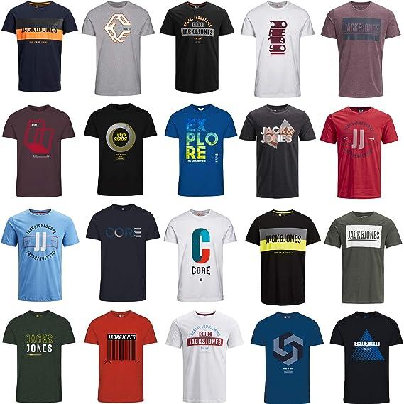 Jack Jones Herren T Shirt Slim Fit Mit Aufdruck Im 3er Oder 6er