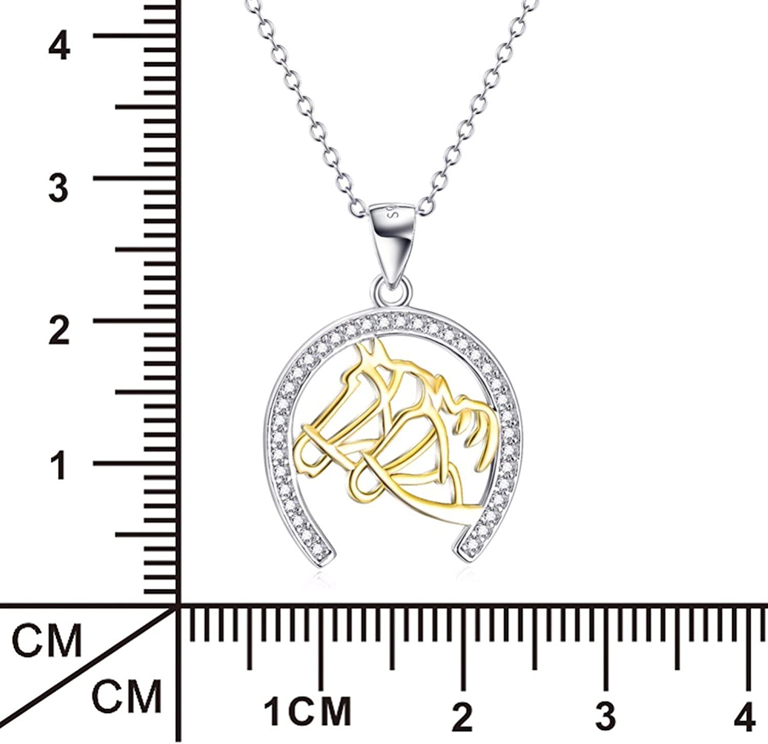 CS-DB Pendants Necklaces Silver Lovely Two Horse Head Horse Hoof Crystal Jewelry Girls