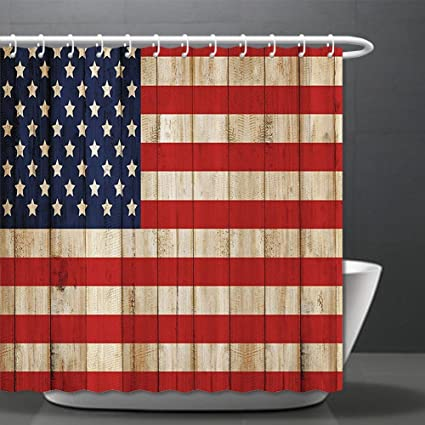 Amazon.com: American Flag Shower Curtain USA Decor Independence Day ...