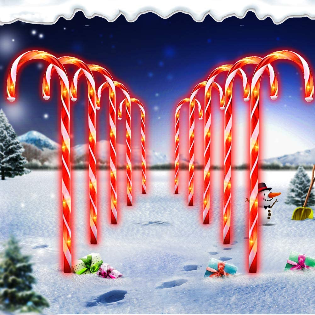 Christmas Candy Cane Pathway Marker Lights Led Yard Lawn Pathway Markers Outdoor Candy Pathway Markers Christmas Indoor Outdoor Decoration Lights Ul588 Certified 18ft Length White Amazon Com