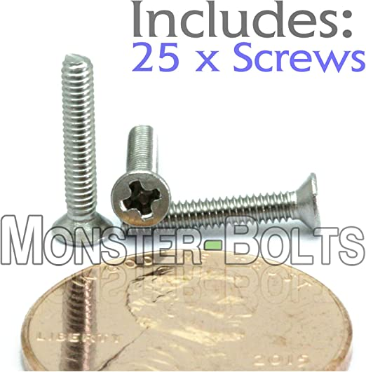 A2 Cross Recessed DIN 965 M2 Stainless Steel Phillips Flat Head Machine Screws