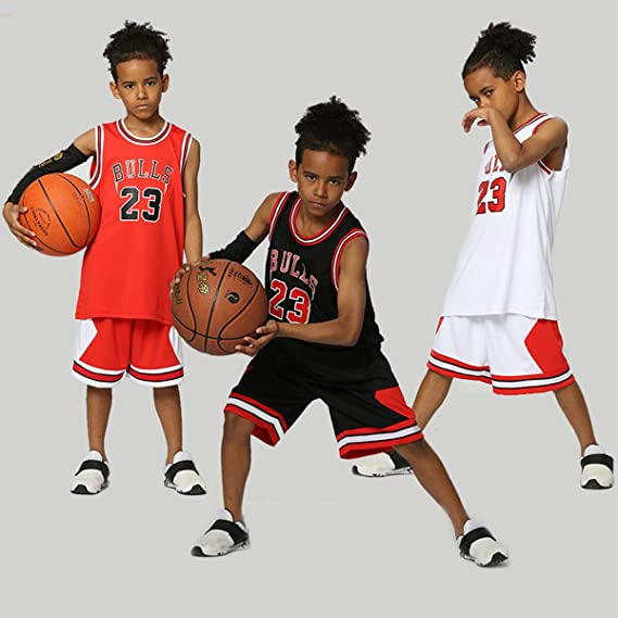 Chico Hombre NBA Michael Jordan # 23 Chicago Bulls Retro Pantalones Cortos de Baloncesto Camisetas de Verano Uniformes y Tops de Baloncesto Uniformes: ...