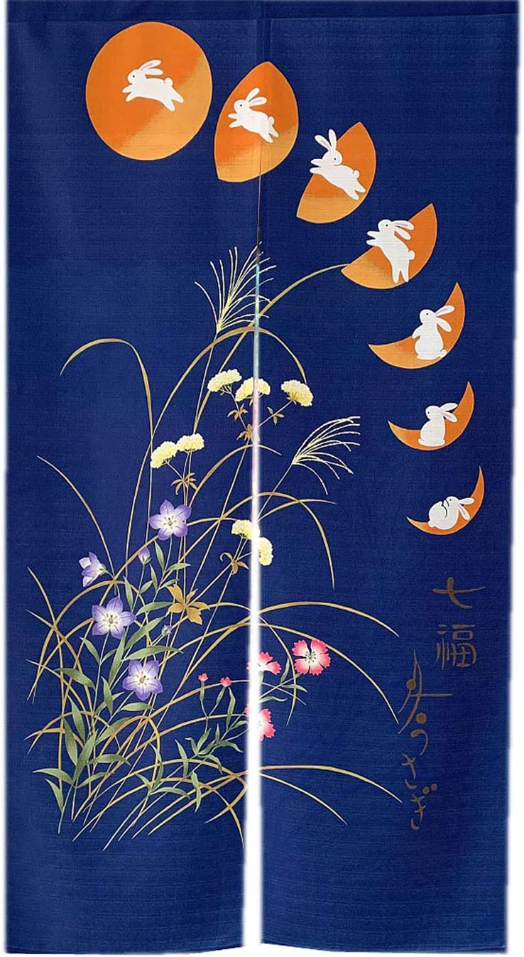 LIGICKY Japanese Noren Long Type Doorway Curtain Door Tapestries for Home Decoration 33.5 x 59 inch, Blue Seven Rabbits Running to The Moon