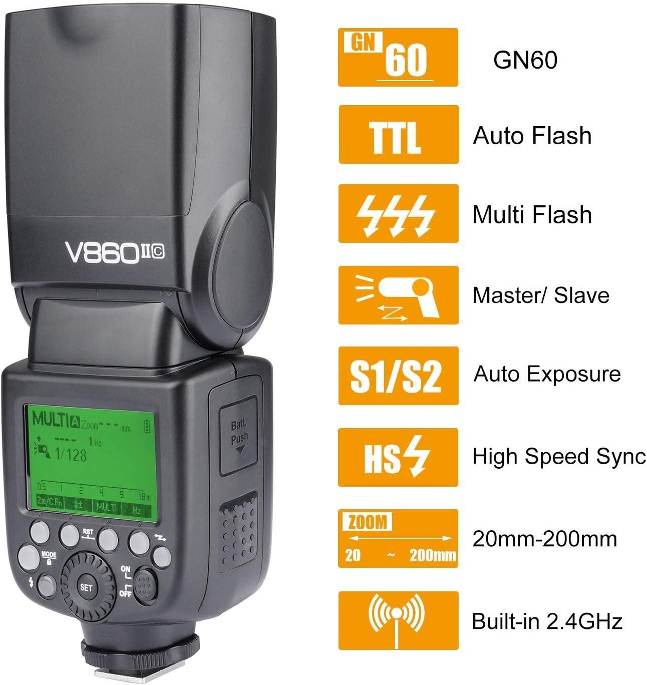 Godox V860II-C E-TTL 2.4G GN60 Li-ion Battery High Speed Sync 1//8000s 1.5s Recycle Time Camera Flash Speedlite Light for Canon 6D 7D 7D2 50D 60D 1DX 580EX II 5D Mark II III 1DX21 550D 650D 760D