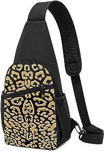 PGTry Ooh La La! Leopard Gilt con bandolera blanca en negro, mochila ligera para el hombro, bolsa cruzada, bolsas de viaje, senderismo, mochilas de día para hombres y mujeres