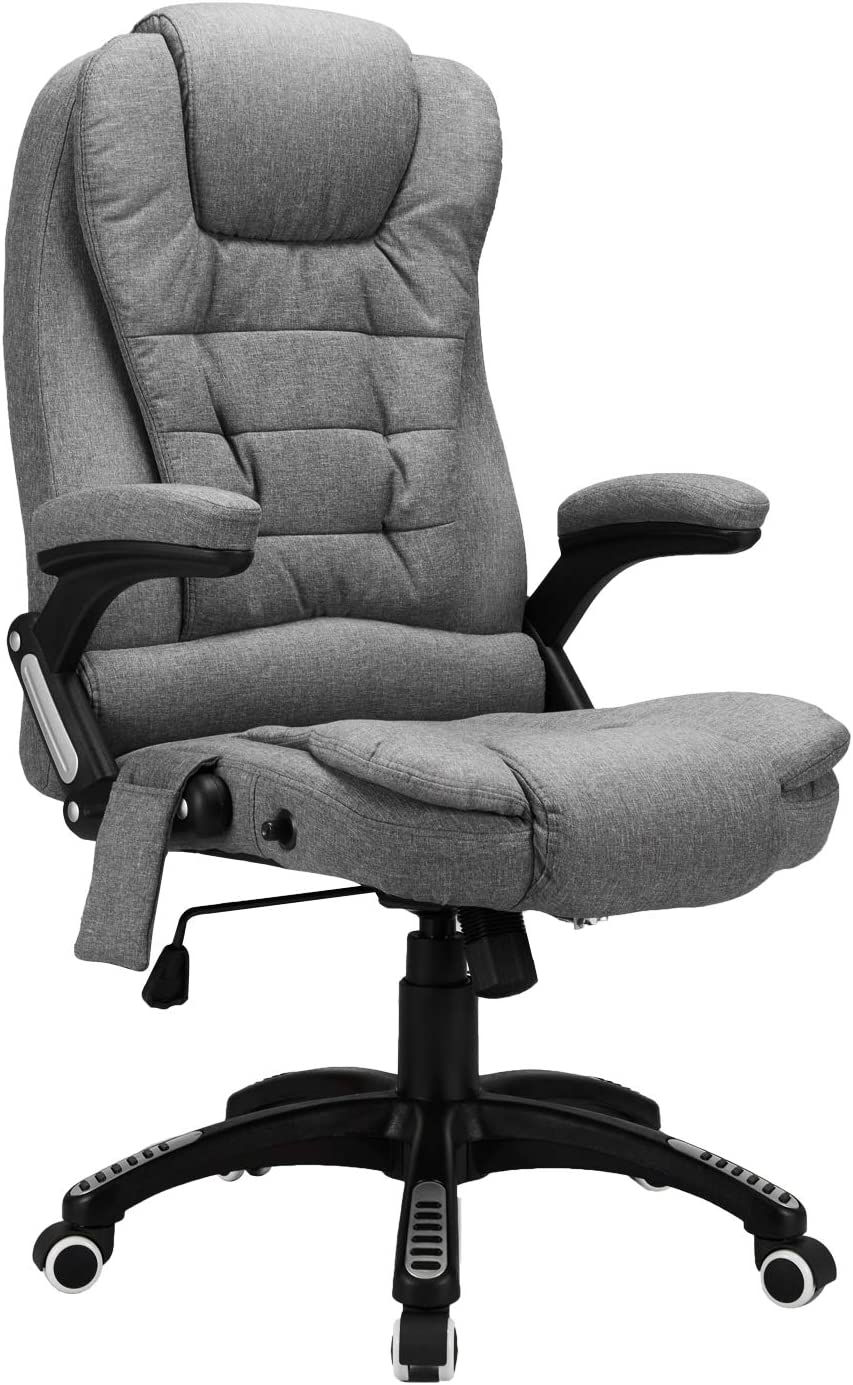 Esright Ergonomic Office Chair High Back Fabric Computer Chair Height Adjustable Desk Chair Heated Massage Recliner Chair with Lumbar Support, Grey