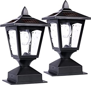 Solar Post Lights Outdoor, Solar Lamp Post Cap Lights, Waterproof Fence Post Solar Lights for Wood Fence Deck Patio Garden Decorative, Fit on 4x4 Wood Posts, 15 Lumens, Black (2 Pack)