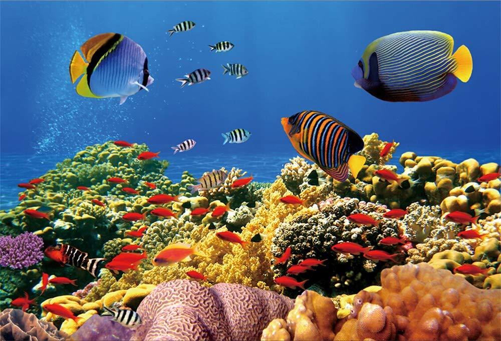 YongFoto 3x2m Vinilo Fondo de fotografía Mundo Submarino Acuario de mar Criaturas Coral De Algas Marinas De Peces Papel Pintado Telón de Fondo de Fotografía ...