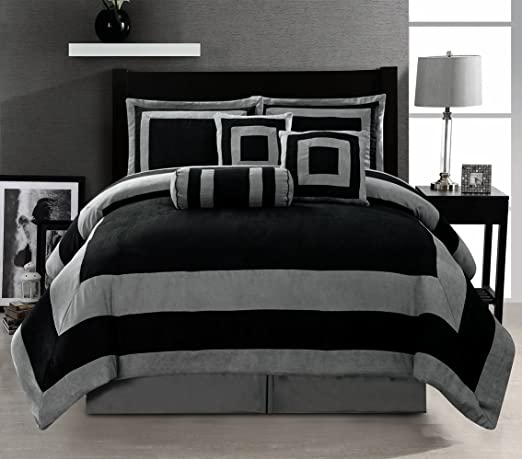 Amazon Com Grand Linen Oversize Black Grey Comforter Set Micro