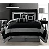 6ab075356c Grand Linen Oversize Black/Grey Comforter Set Micro Suede Patchwork Bed in  A Bag Queen