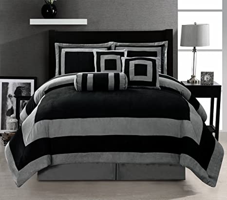 Grey King Size Bedding Sets.7 Piece Black Grey Comforter Set Micro Suede Patchwork Bed In A Bag King Size Bedding