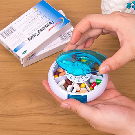 Amazon.com: Dbtxwd Portable Pill Box, Pack Of 2, Rotating 7 ...