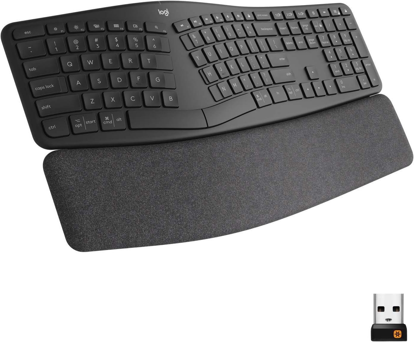 Logitech Ergo K860 Wireless Ergonomic Keyboard with Wrist Rest - Split Keyboard Layout for Windows/Mac, Bluetooth or USB Connectivity (Renewed)