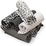 KING DO WAY elas de Algodón Impresas para la Costura a Tela para Bricolaje / Artesano / Hecho a Mano, Telas Patchwork Cuadrados (Negro)