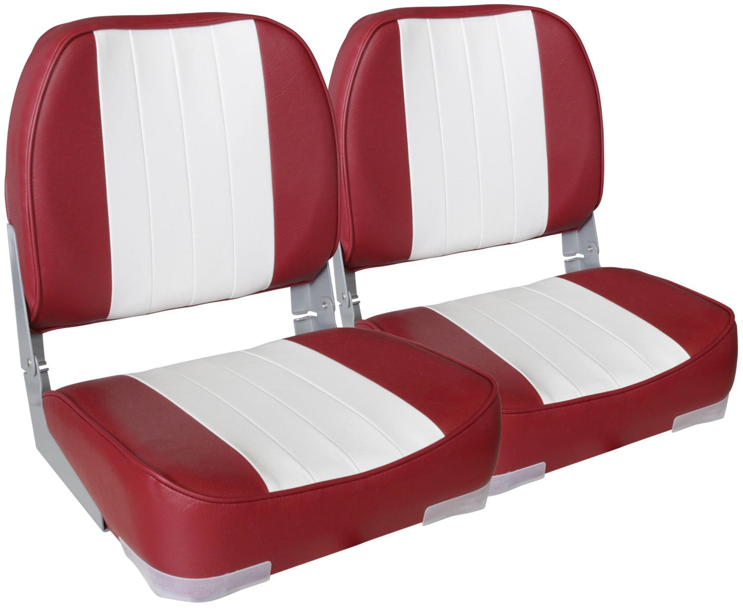 Leader Accessories A Pair of New Low Back Folding Boat Seats(2 Seats) (White/Red) by Leader Accessories