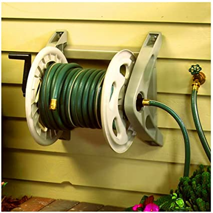 bs water hose reel wall mount garden back yards garages outdoor hoses holder storage durable contemporary - Wall Mount Garden Hose Reel