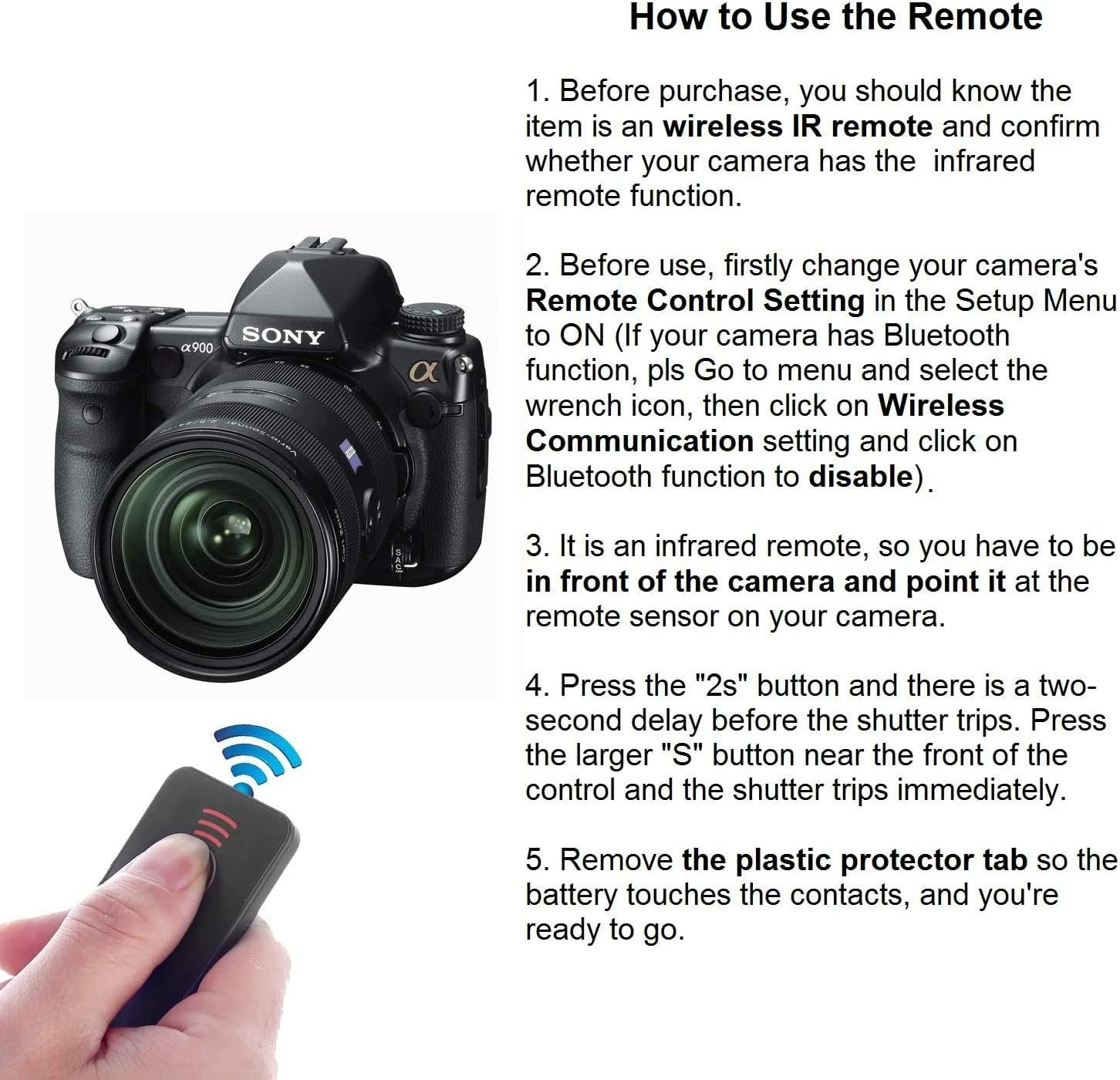 NEX-7 NEX-6 A7 II AiLove IR Wireless Remote Control Release for Sony Alpha Camera A7R III A9 A7R II A7 A7R A7S A6500 A6300 A6000 A55 A65 A77 A99 A900 A700 A580 A560 A550 A500 A450 A390 A380