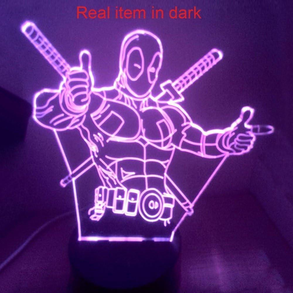 marvel deadpool 3D LED Light 7 colours remote control /& touch super hero decore