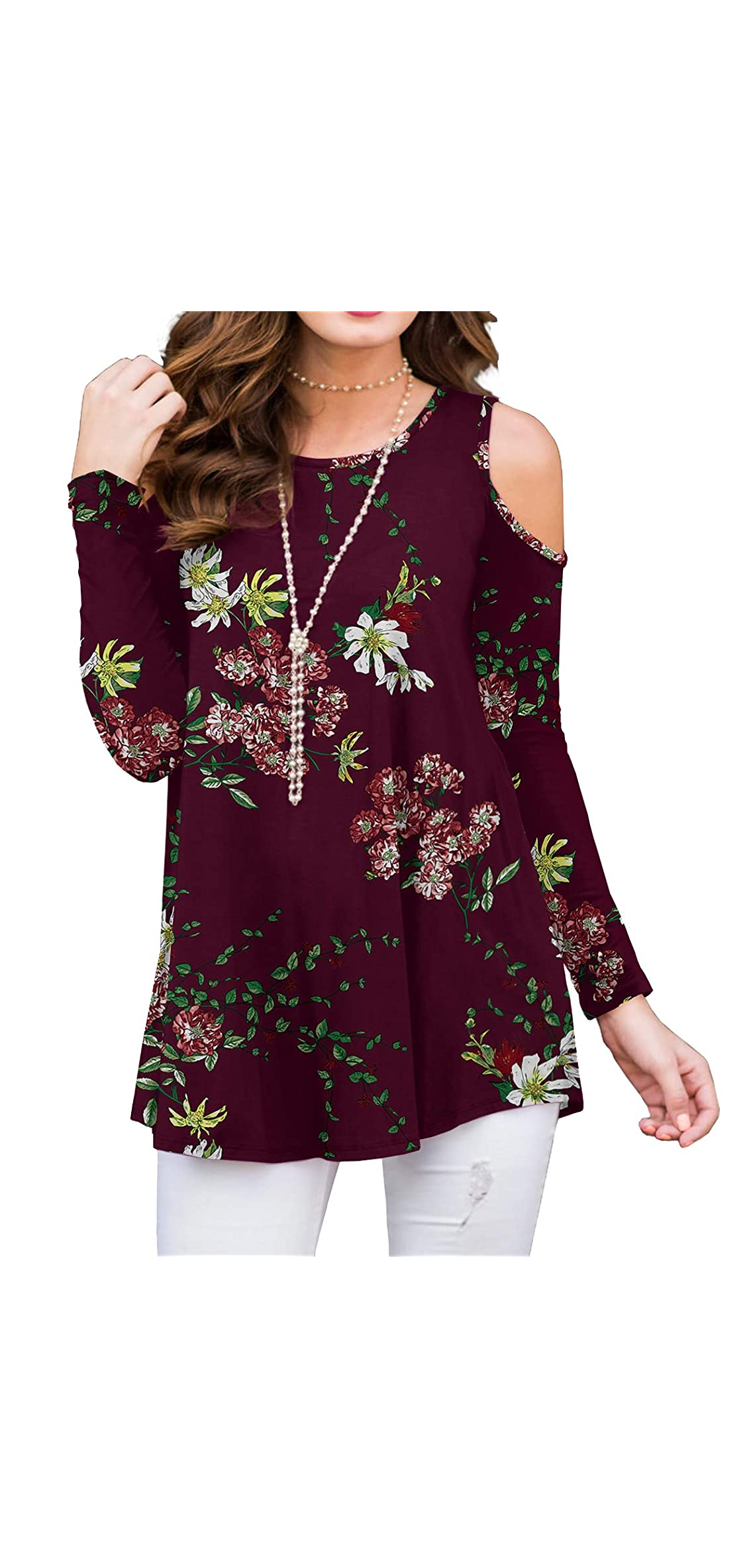 Women's Shorts Sleeve Casual Cold Shoulder Tunic Tops